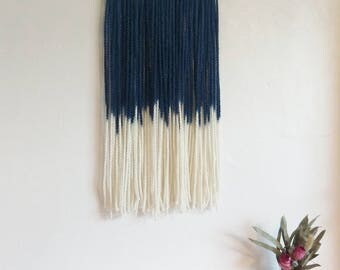 Reverse Navy Blue dip dye chunky yarn wall hanging