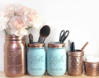 Rose gold, robin egg blue mason jar. Makeup storage, desk storage, dorm room, graduation gift, pen marker holder, teacher gift, baby, bride