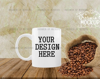 Mug Mockup - wood shelf, kitchen tile, blank cup, coffee cup, styled stock photography, coffee mug - INSTANT DOWNLOAD
