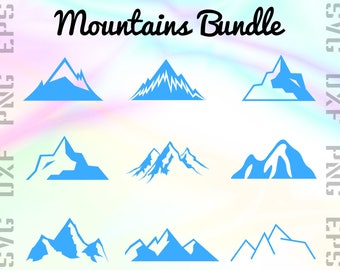 Mountain SVG Files - Summit Clipart - Everest Cricut Files - Summit Dxf Files - Mountain Cut Files - Mountain Png - Svg, Dxf, Png, Eps