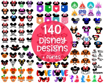 DISNEY Svg Disney Cut Files Svg Disney Bundle Mickey & Minnie Mouse Ears Disney font, Monograms, Clip Art for Cricut, Silhouette Dxf Eps Png