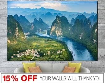 Yansho canvas, China canvas, Landscape canvas, River canvas, Mountains canvas, China wall art, Landscape print, River wall art, Mountains
