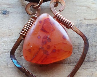 Gemstone Necklace Hammered Copper Wire Jewelry Handmade Pendant