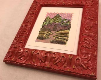 FRAME large glossy red ornate
