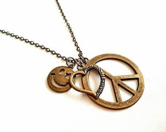 Necklace with peace pendant