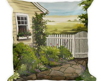 Beach Art Painting Cottage - Square Pillow
