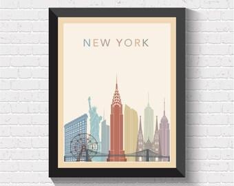 New York Skyline, New York Print, New York Poster, New York Art, New York Wall Art, New York Decor, New York Cityscape, New York, US, USA