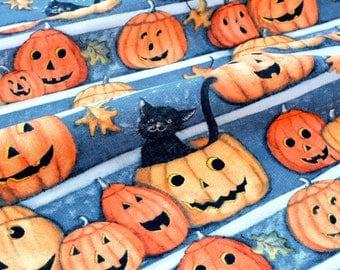 American fabric themed Halloween Pumpkin and cat x 50cm