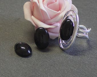 4 cabochons 18x13mm black stained glass