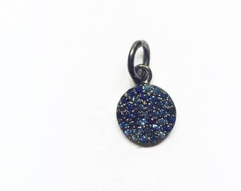 Sterling Silver with Blue sapphire Round Charms