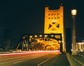 Sacramento California Tower Bridge at Night (8x10 Print)
