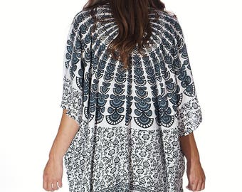 Black & White Beach Boho Kimono, Swim suit Cover Up