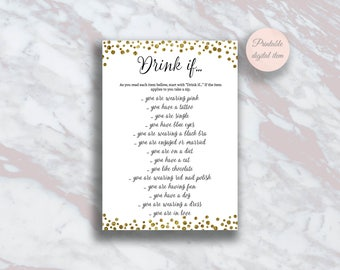 Drink if game, Bachelorette party games, Drinking Game, Bridal shower, Hen party activity, Hen's night, Gold Confetti Bachelorette Game s3bh