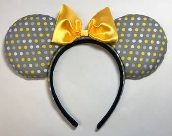 Gray with Yellow and White, Polka Dots, Minnie Mouse Ears
