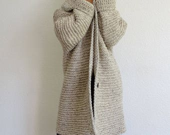 knit cardigan, bulky cardigan, long coat, knit womens cardigan, knit coat, long cardigan, oversized, bulky knit, off white, made to order