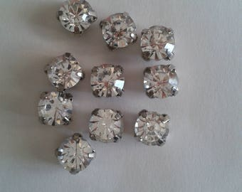 20 round glass rhinestones set-Crystal 6mm