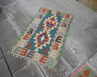 Kilim rug,FREE SHIPPING !!! hand made rug,rustic decor,Turkish vintage rug,45'' x 28'' ,interior design,home decor,flat woven rug,piless rug