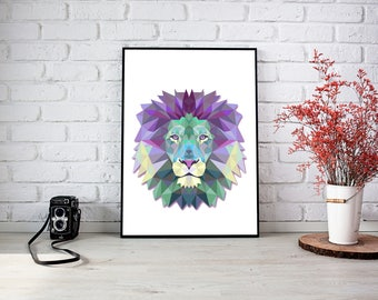 Lion Triangle Wall Print