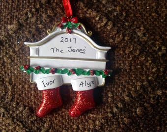 personalised christmas decoration. Family couple. 1st christmas