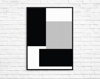 Geometric Blocks Print, Printable Art, Digital Print, Wall Art, Home Decor, Modern Decor, Scandinavian Poster, Geometric Art Print, Minimal
