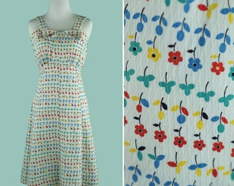 1930s Floral Print Dress - 30's Primary Color Day Dress - Attached Belt - Bow At The Bust - Empire Waist