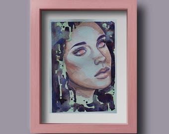 Dreamy Eyes Watercolour Painting of a woman Original // A5 Painting // Illustration