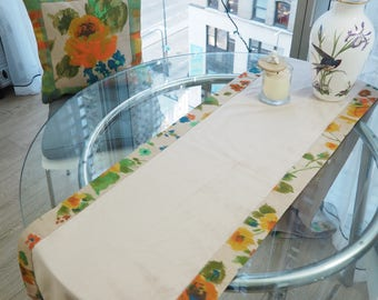 Handmade Table Runner 103'' with Matching Throw Pillows 20'' Floral