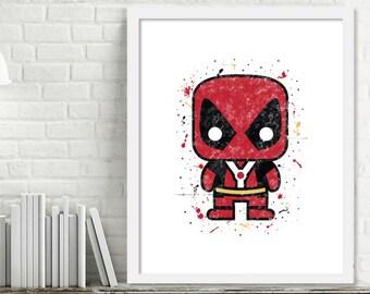 Printable Superhero Nursery Art, Superhero Watercolor Art, Superhero Bedroom, Deadpool Watercolor Print, Mini Superheroes, Deadpool Print