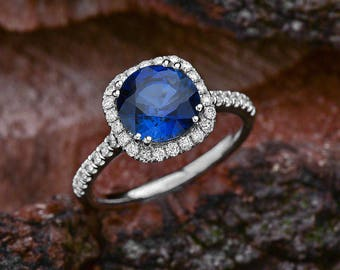 Blue Sapphire Halo Engagement Ring in 14K White Gold / 8mm Lab Grown Blue Sapphire Center Stone