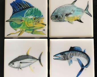 Saltwater Series Coasters-Tile Coasters-Coastal Coasters-Mahi-Permit-Tuna-Wahoo-Fish Coasters