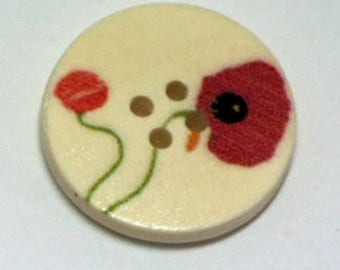 Set of 4 poppy 4 hole 25mm wooden buttons
