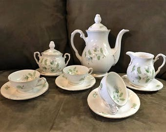 Vintage Winterling 'Fern' Demitasse Tea Service, 11 Pieces.