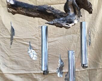 Root Wood Spoon Wind Chime, Yard Art, Recycled Metal