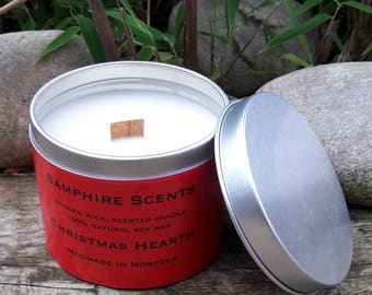 Christmas Hearth wooden wick soy candle
