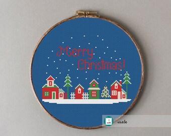 Christmas night cross stitch pattern, modern cross stitch pattern, PDF, DIY ** instant download**