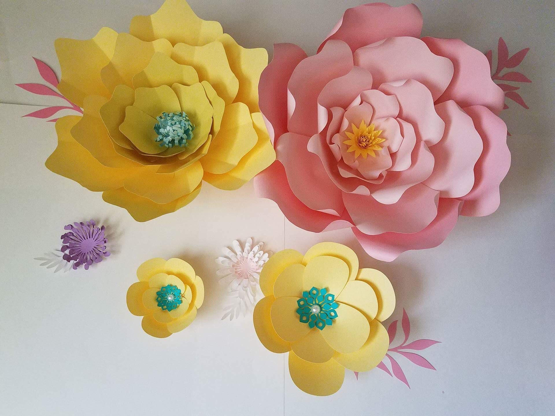 Set Of 6 Yellow And Pink Paper Flowers Nursery Decor Party Decor