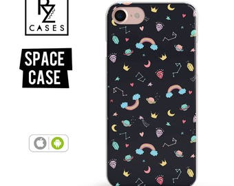Space Phone Case, Diamond Phone Case, iPhone 7, Cartoon, Crown, Cute, Love, Rainbow, Space, Gift for Her, iPhone 7 Plus Case, iPhone 6S Case
