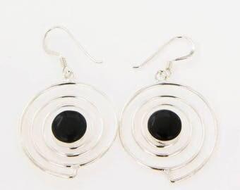 Black Onyx Earrings,Silver Earrings,Sterling Silver Earrings,Dangle Earrings,Hand Made Earrings