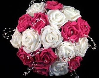 Brides,Bridesmaids,Bouquet,Fuchsia Roses,Wedding Flowers