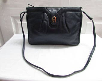 Vintage Etienne Aigner With Two Compartments Dark Navy Blue Leather Shoulder Purse Cross Body Handbag