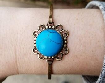Gemstone Cuff Bracelet, Antique Brass Filigree Hinge Cuff - Onyx Cuff, Dalmatian Jasper Cuff, Venus Jasper Cuff, Turquoise Cuff