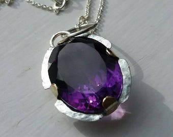 Handmade Large 14 crt Amethyst Pendant , .925 Silver with gold mounts
