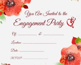Poppy engagement invitation