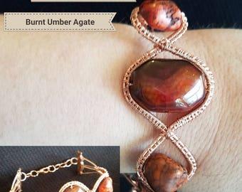 Burnt umber and copper bracelet