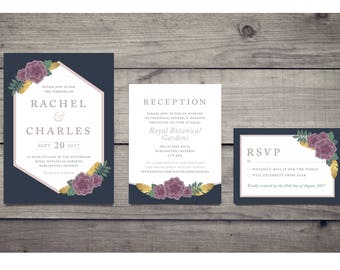 Printable Wedding Invitation Suite - Romantic Boho