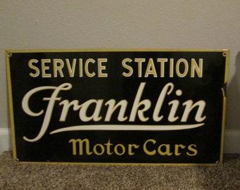 Vintage Porcelain Franklin Motor Cars Service Station Sign