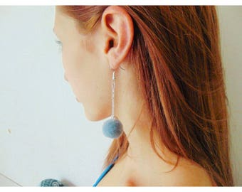 Blue pom pom earings