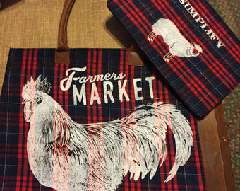 Tote bag set rooster farm house country