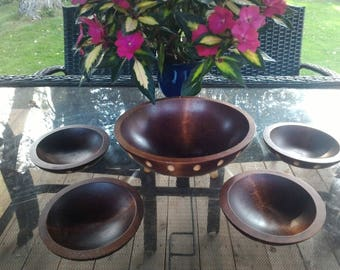 Wonderful Baribocraft wood salad set for four persons
