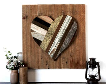 "20"" Reclaimed Wood Inlay Heart on Weathered Cypress Backing - rustic heart, wooden heart decor, wedding decor, valentine's day, wall decor"